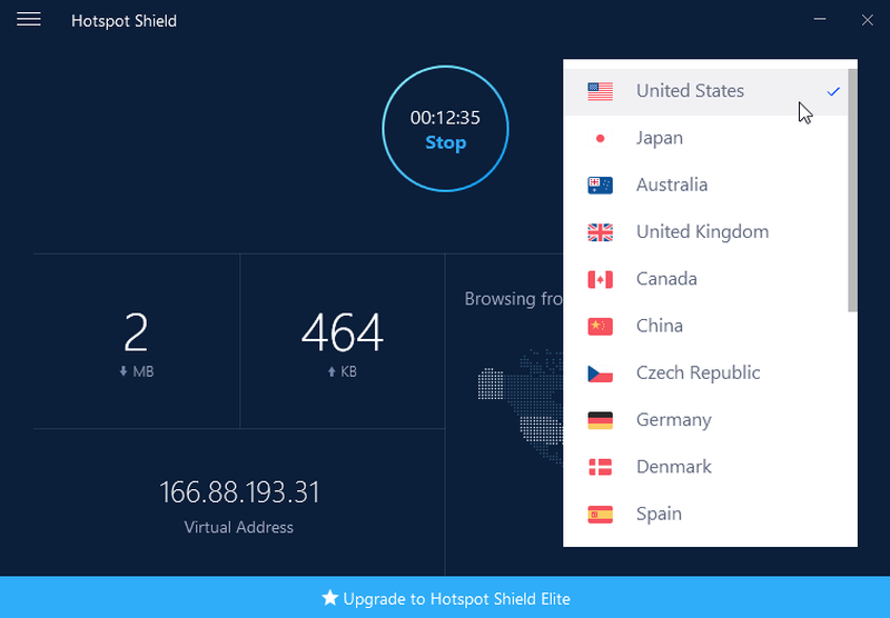 Interface du VPN Hotspot Shield