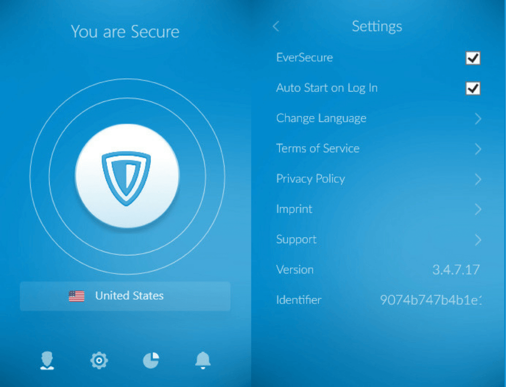 Interface du VPN ZenMate