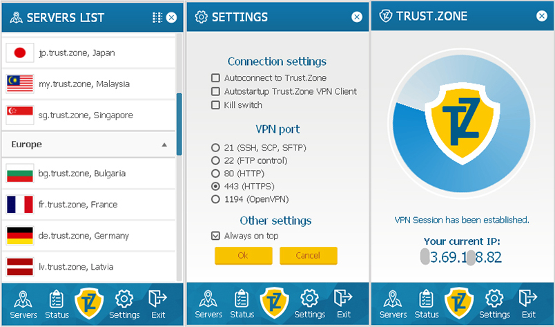 Interface du VPN Trust Zone