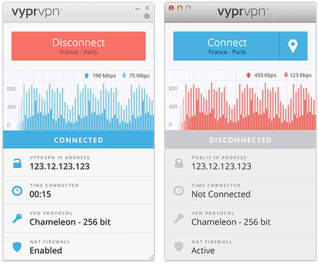 Interface du VPN VyprVPN