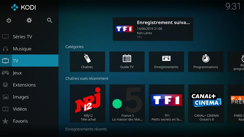 Interface Media Center KODI
